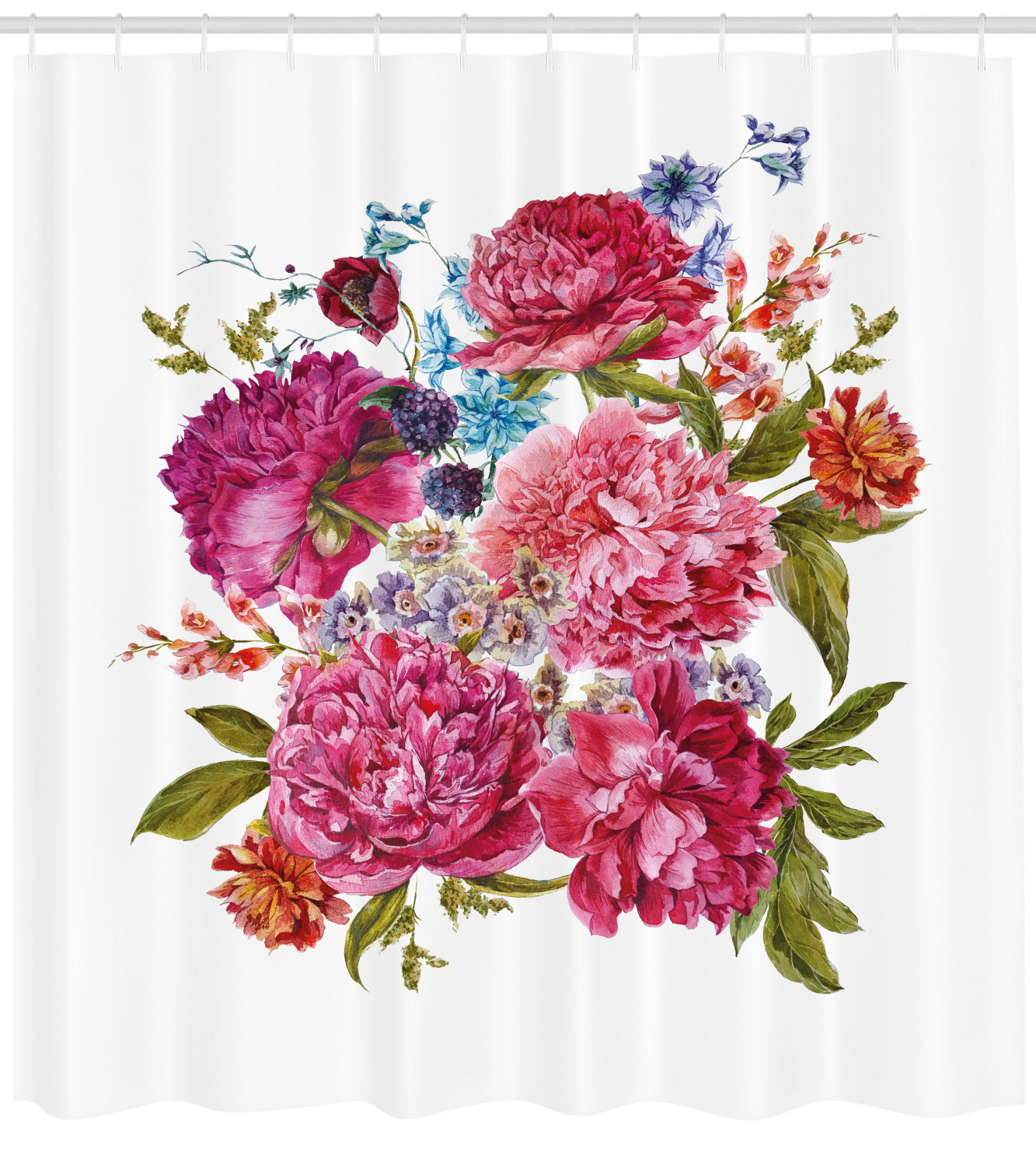 Shabby Chic Shower Curtain Gentle Summer Flora Hyacinths Blackberry And Peonies Victorian Style Vegetation Fabric Bathroom Set With Hooks