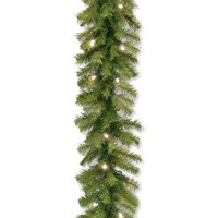 "National Tree 9' x 10"" Norwood Fir Garland with 50 Battery Operated Soft White LED Lights"