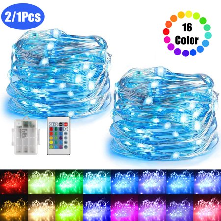 2/1Pcs,16ft 50LED Copper Battery Powered Multi Color Changing Fairy String Lights With Remote Control for Indoor Bedroom Christmas Wedding Costume (Blue Light Gläser)