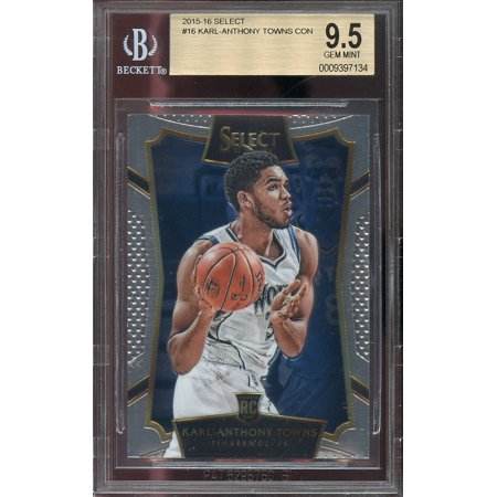 2015 16 Select  16 Karl Anthony Towns Minnesota Timberwolves Rookie Card Bgs 9 5