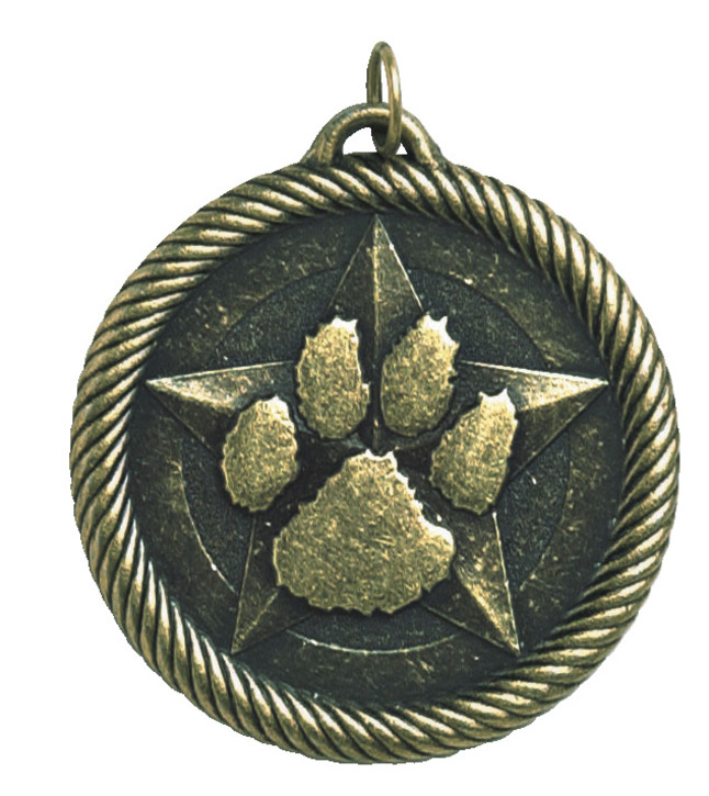 Hammond & Stephens Multi-Level Dovetail/Paw Print Value Medal, 2 Inches, Solid Die Cast, Gold
