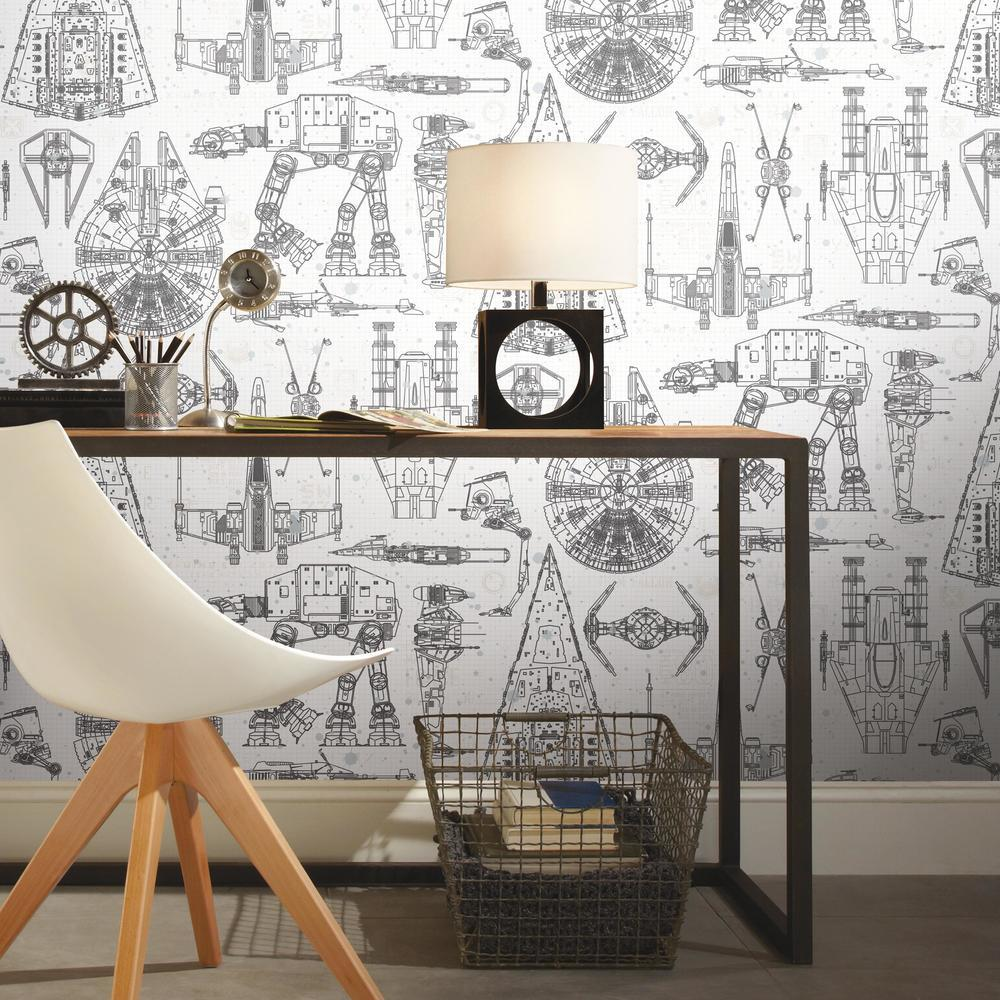 20 5 X 16 5 Roommates Rmk11036wp Star Wars Blueprint Peel And Stick Wallpaper Blue Tools Home Improvement Painting Supplies Wall Treatments