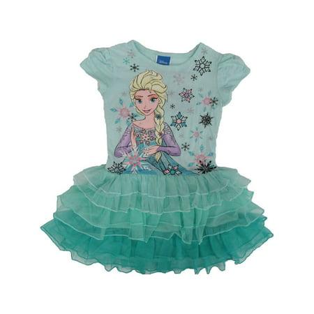 Short Sleeve Tutu - Disney Girls Blue Frozen Elsa Print Short Sleeve Ruffle Tutu Dress