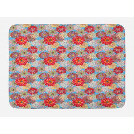 Dahlia Bath Mat, Cheerful Floral Pattern with Large Dahlia and Chrysanthemum in Lively Pastel Colors, Non-Slip Plush Mat Bathroom Kitchen Laundry Room Decor, 29.5 X 17.5 Inches, Multicolor, Ambesonne