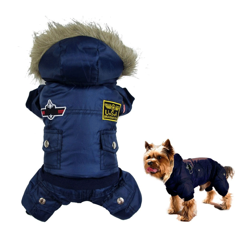 Hoodies Jackets Pet Dog clothes for Cold Winter Weather, Blue Waterproof Warm Winter Pet Coat Jackets for Small / Medium / Large Dogs, (XS-XL)