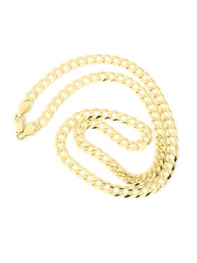 Men's Solid 14k Yellow Gold Comfort Cuban Curb Chain Necklace