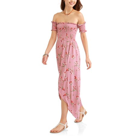 (Juniors' Floral Off the Shoulder Smocked Maxi Dress)