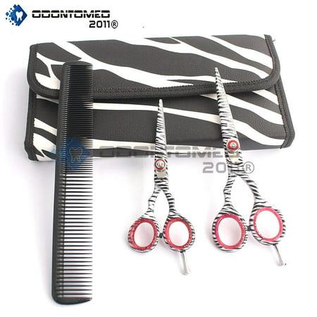 Odontomed2011 Od2011-d-1534 New White Zebra Japanese J2 Stainless Steel Pro Razor Edge Barber Hair Cutting Scissors Shears Set 4.5