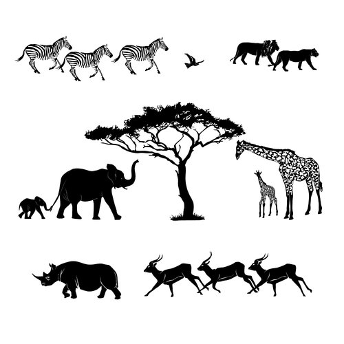 Dana Decals Safari Scene Silhoutte Small Wall Decal