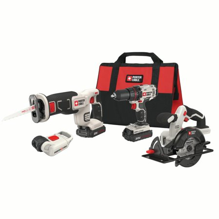 PORTER CABLE 20-Volt Max Lithium-Ion 4 Tool Combo Kit,