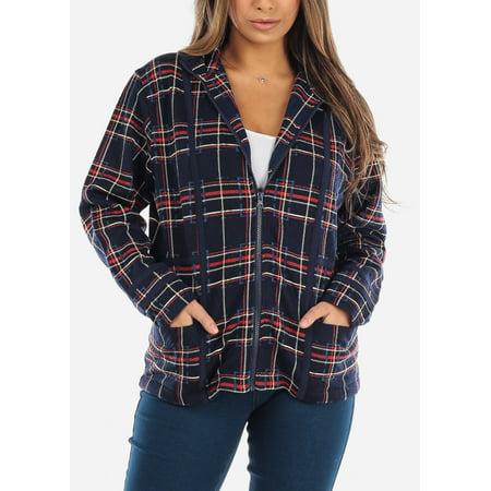 Womens Long Sleeve Zip Up With Hoodie Navy Plaid Print Jacket 41492C Plaid Print Vest