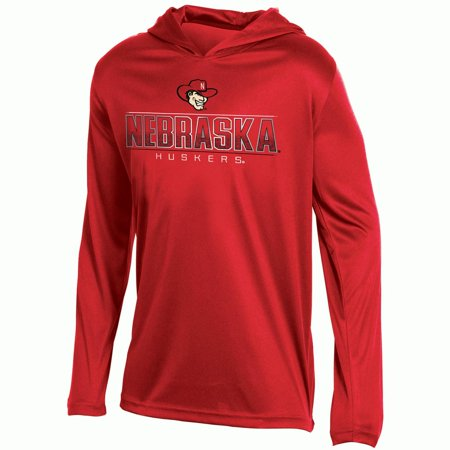 (Youth Russell Scarlet Nebraska Cornhuskers V-Neck Pullover Hoodie)