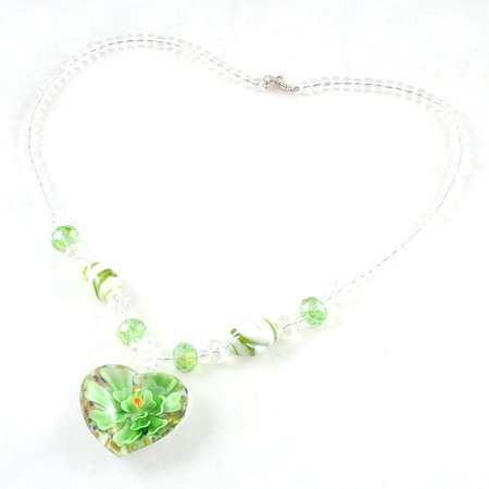 Ladies Green Clear Beaded Neck Strand Faceted Crystal Beads Glass Necklace 2.25 Neck Clear Glass