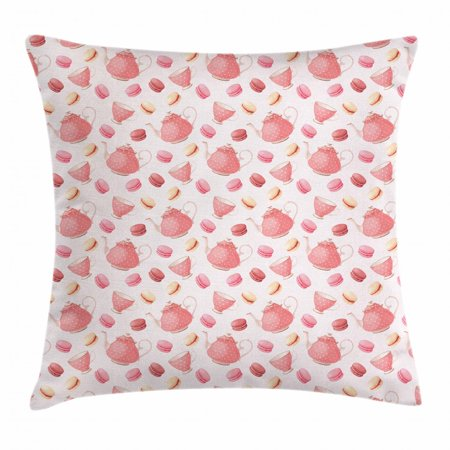 Tea Throw Pillow Cushion Cover, Nostalgic Polka Dots Patterned Teapots with Macarons Classic Antique Cups Artsy, Decorative Square Accent Pillow Case, 16 X 16 Inches, Pale Pink Peach, by Ambesonne