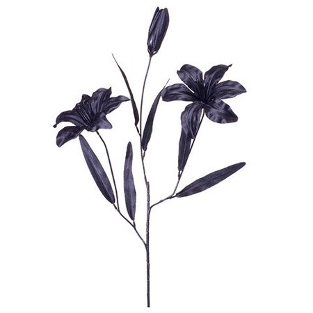 Tiger Lily Flower Spray - Satin - 2 Lilies, 1 Bud - Solid Black - 25