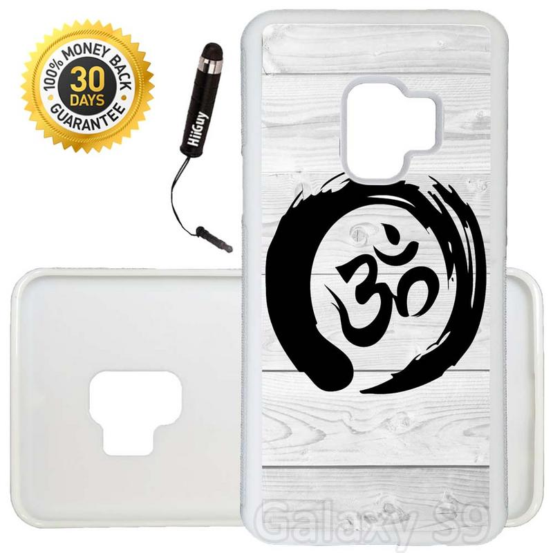 Custom Galaxy S9 Case (Zen Om on Wood) Edge-to-Edge Rubber White Cover Ultra Slim | Lightweight | Includes Stylus Pen by Innosub