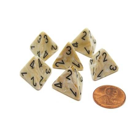 4 Sided Marble (Marble 18mm 4 Sided D4 Chessex Dice, 6 Pieces - Ivory with)