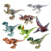 8pcs ABS Jurassic Park Dinosaur Building Blocks Jurassic World Dinosaur Miniature Action Figures by