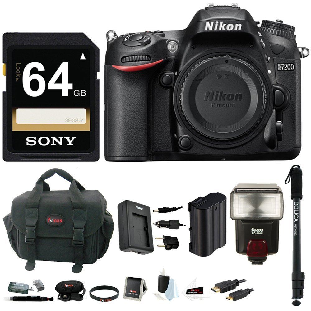Nikon D7200 DSLR Camera (Body Only, Black) with Sony 64GB Accessory Bundle