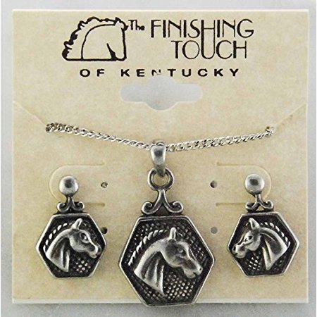 Horse Head in Hex Gift Set - Antique Silver Finish