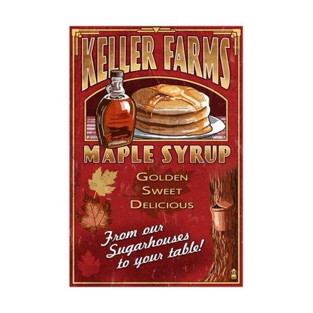 Maple Syrup Farm - Vintage Sign Print Wall Art By Lantern Press (Maples Farm Halloween)