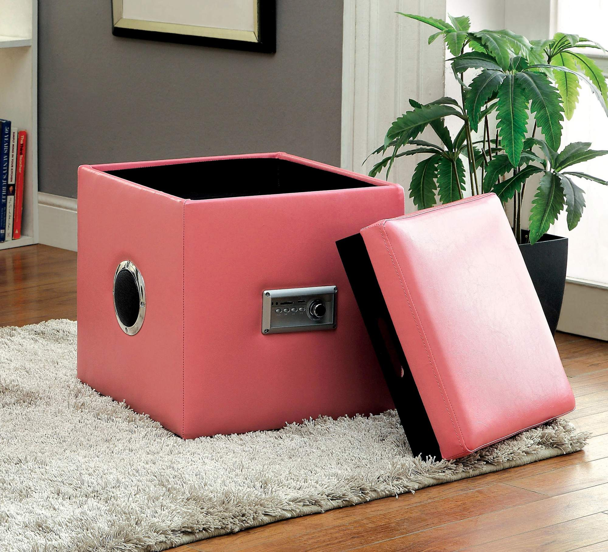 Furniture of America Lyrica Wireless Bluetooth Ottoman, Multiple Colors
