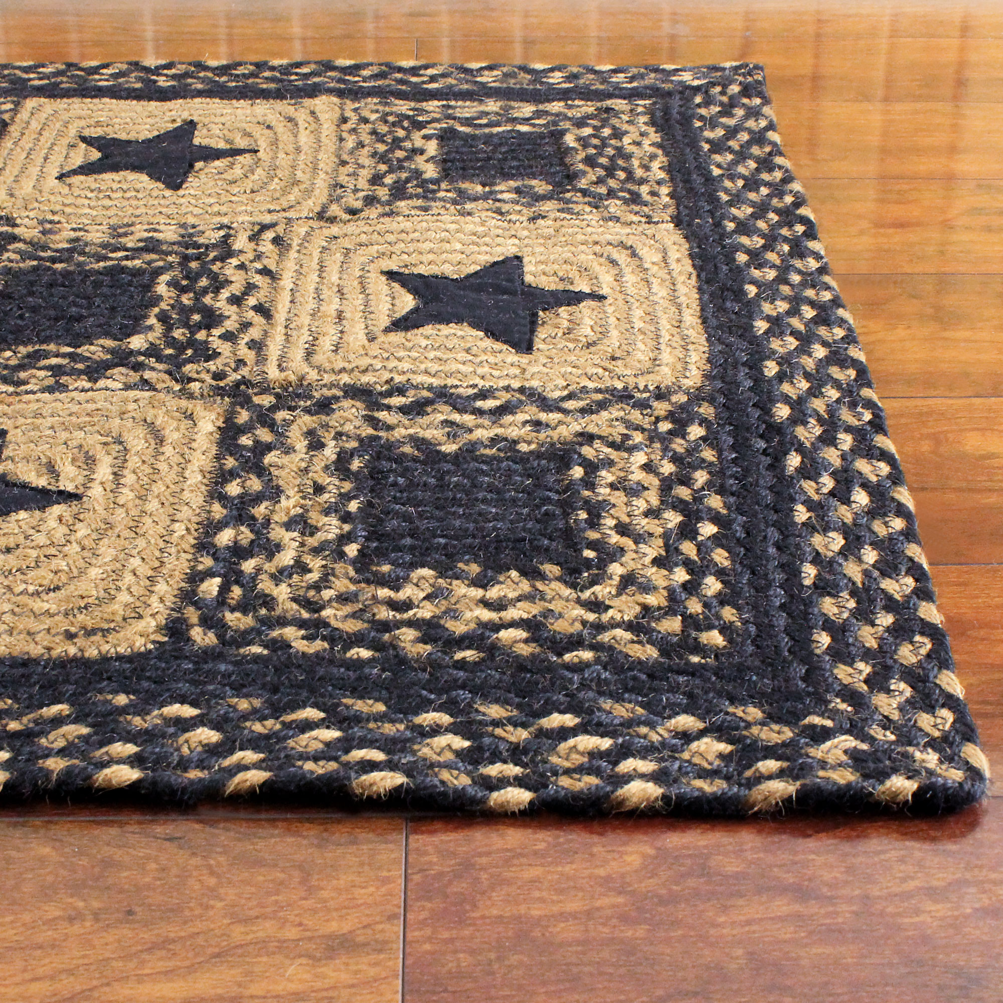 Country Star Rectangle Braided Rug