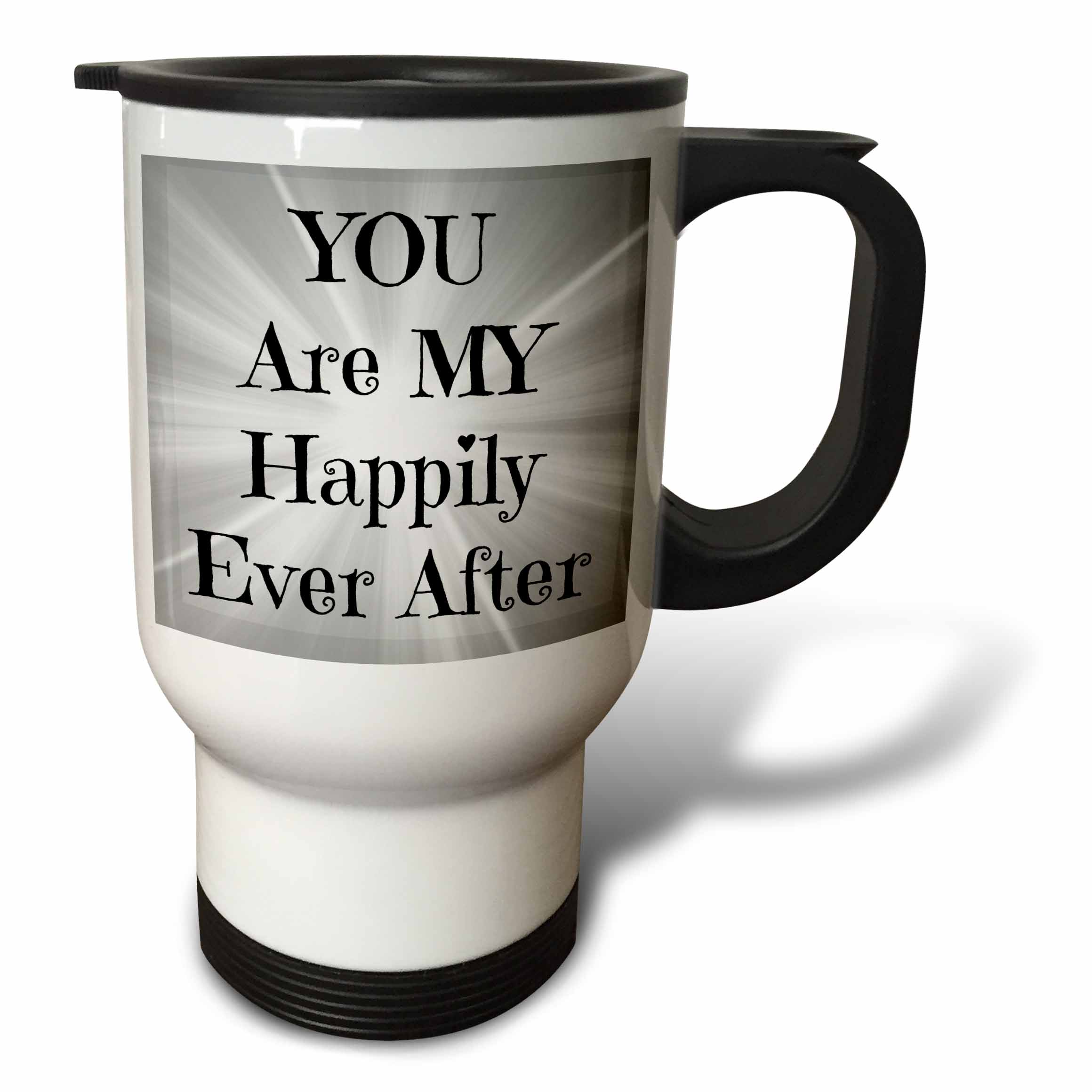 3dRose you are my happily ever after black letters on silver back, Travel Mug, 14oz, Stainless Steel