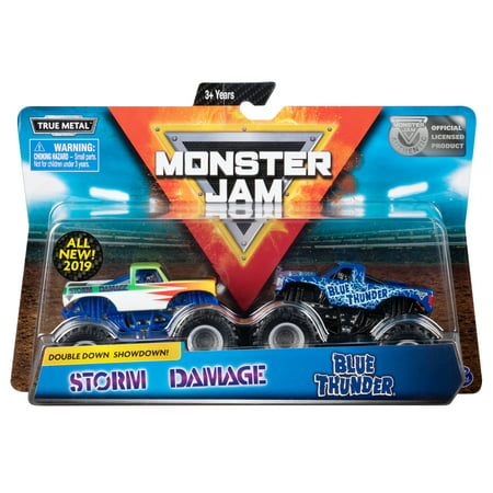 Monster Jam, Official Blue Thunder vs. Storm Damage Die-Cast Monster Trucks, 1:64 Scale, 2 -
