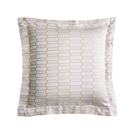 Pratesi Jaquard Checkered European Square Pillow Sham Beige Egyptian Cotton