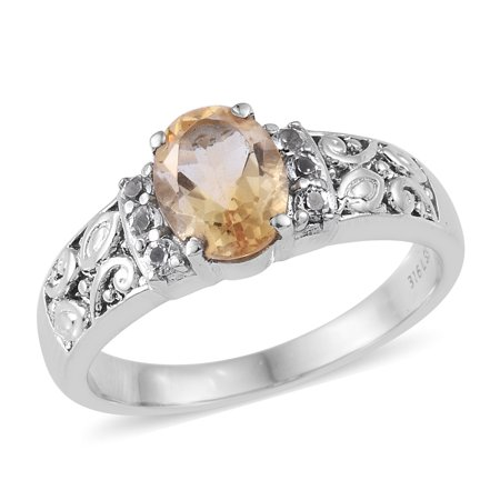 1.6 Ct Citrine Ring (Solitaire Ring Stainless Steel Citrine White Topaz Ct)