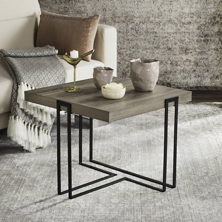"Safavieh Pitt 21"" Square Mid Century Scandinavian End Table, Light Grey/Black"