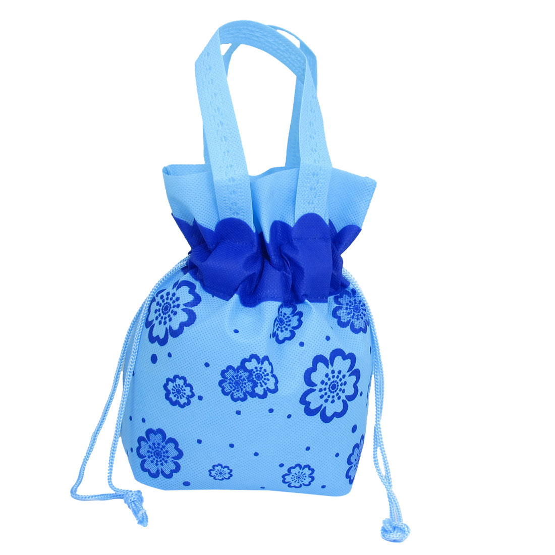 Unique Bargains Reusable Floral Printed Water Resistant Shopping Totes Handbag Light Blue