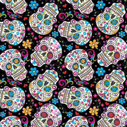 "Ultra Soft ""Heavenly Plush"" Fabric By The Yard, Folkloric Skulls"