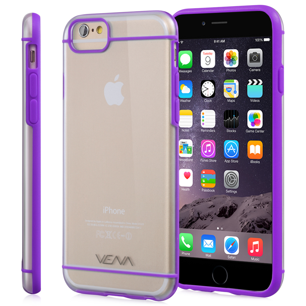 "iPhone 6 Plus/6s Plus Case - VENA [RADIANT] Slim Clear Hybrid Bumper Case for Apple iPhone 6 Plus/6s Plus (5.5"") - Transparent / Purple"