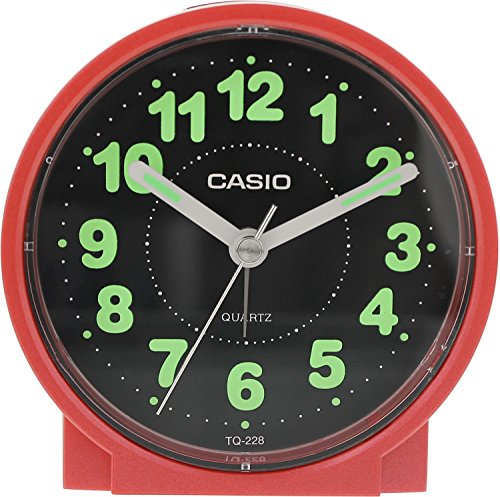 Casio #TQ228-4DF Round Travel Table Top Alarm Clock
