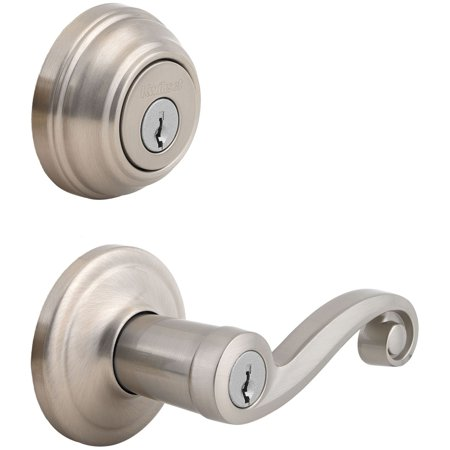 Kwikset 991 Lido Keyed Entry Lever and Single Cylinder Deadbolt Combo Pack featuring SmartKey® in Polished Brass Door Lever Set Polished Brass