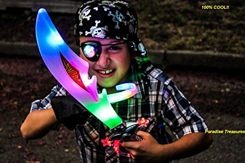 Pirate Costume for kids with Light up Buccaneer sword,LED Eye Patch,Pirate Hook,Pirate... by Paradise Treasures