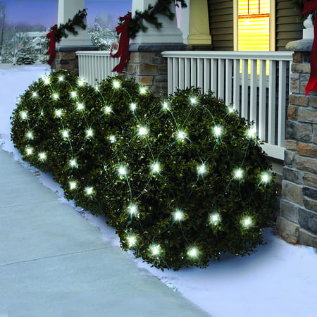 holiday time random twinkle led net light set green wire cool white bulb150 count