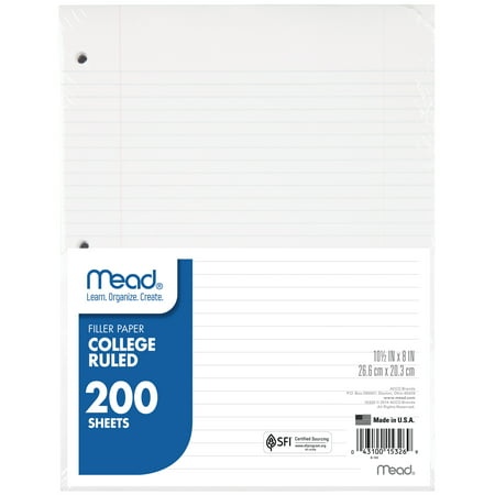 Mead Filler Paper, College Ruled, 11