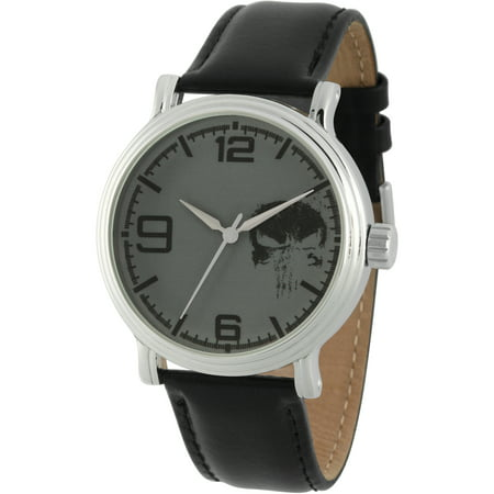 Knight Present Punisher Men's' Silver Alloy Vintage Watch, Black Leather Strap