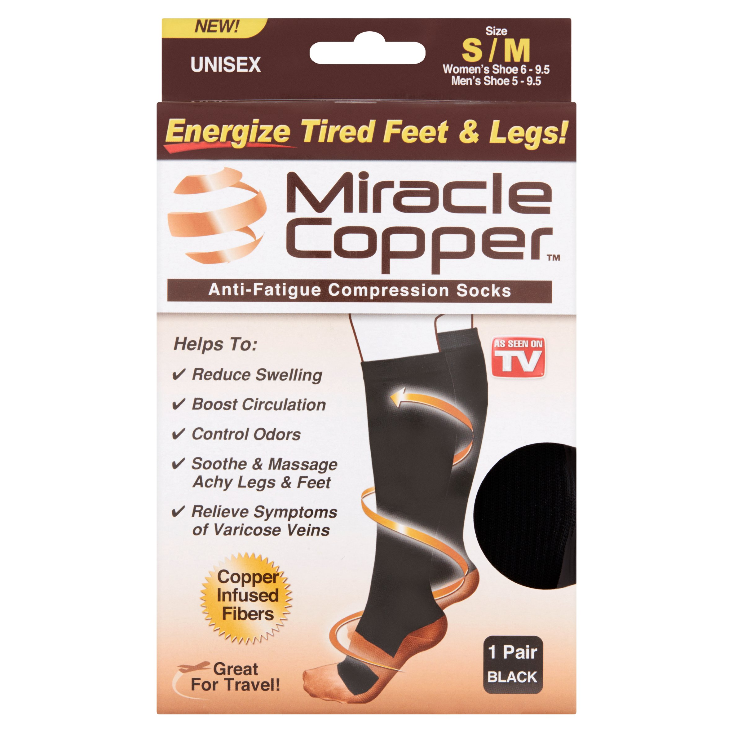 Miracle Copper Unisex Anti-Fatigue Compression Socks, S/M