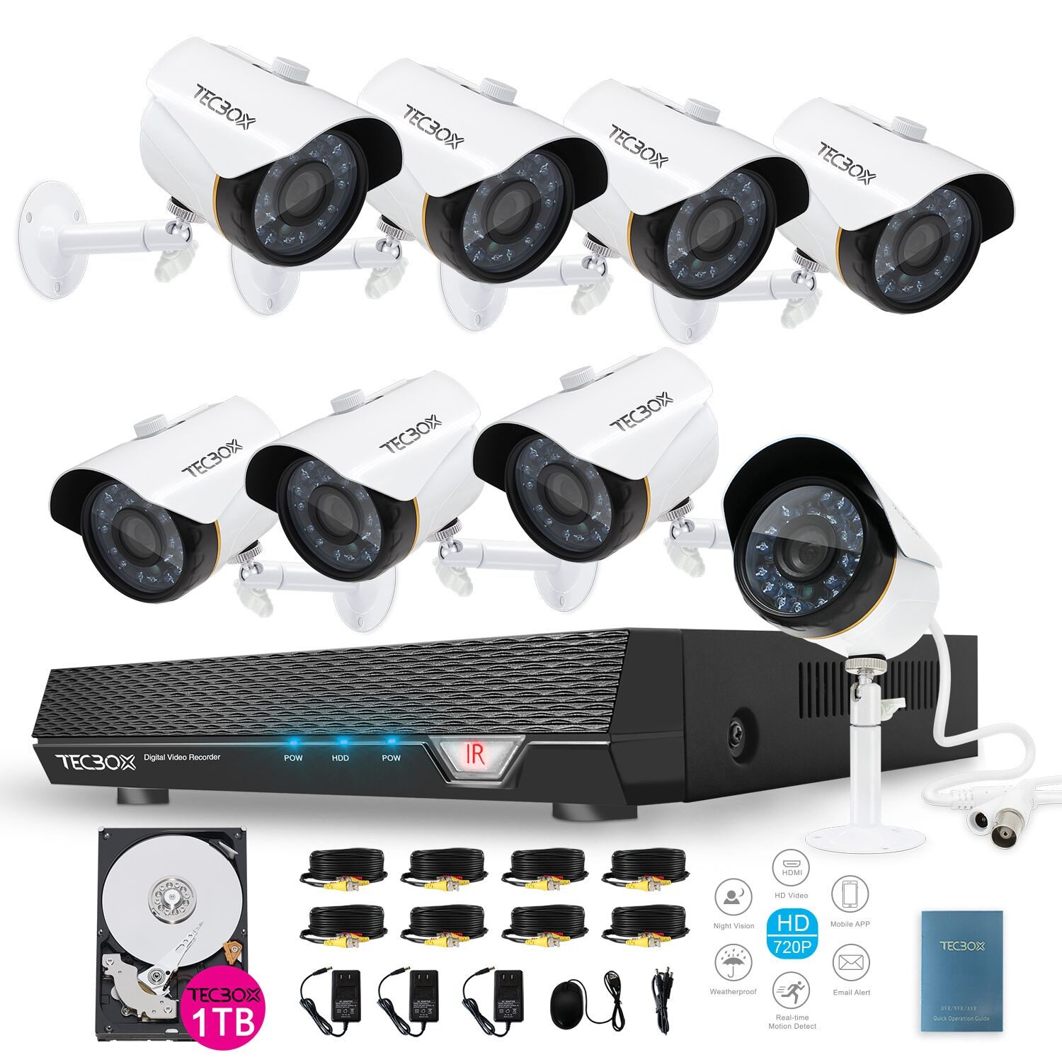 Tecbox 8 Channel Home Surveillance Camera System CCTV Security HDMI AHD DVR 8 HD 720P Indoor/Outdoor Cameras Remote View Motion Detection 1TB HDD Pre-installed