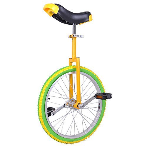 "Bright Lemon 20 Inch In 20"" Mountain Bike Wheel Frame Unicycle Cycling Bike With Comfortable Release Saddle Seat"