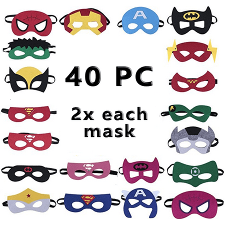 Child Super Hero Costume Mask Set for Kids 40-pc Avengers Masks Multi Colored perfect for Birthday Party and DIY activities