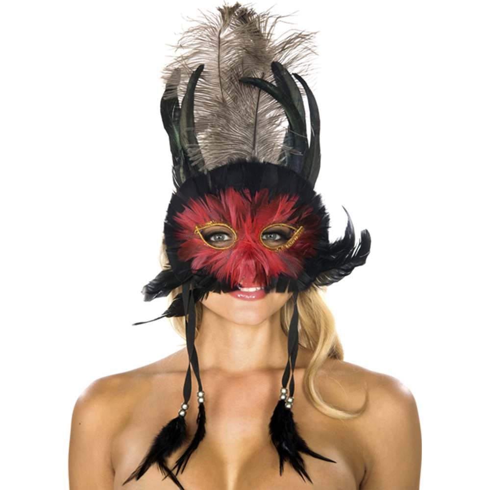 Black and Red Feather Mask