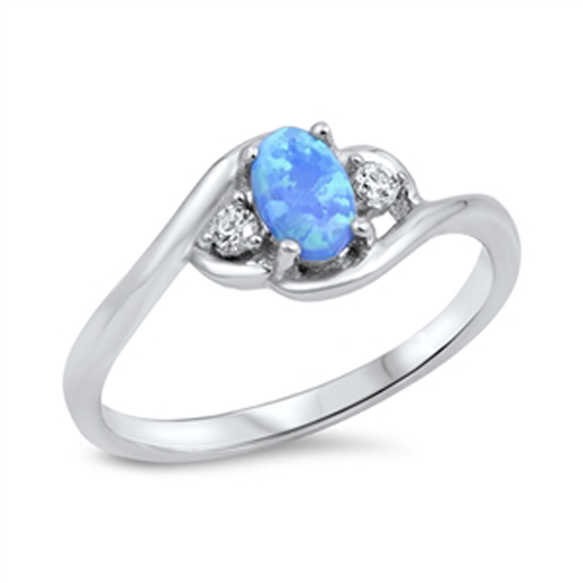 Sterling Silver Stunning Women's Flawless Colorless Cubic Zirconia Blue Simulated Opal Wedding Ring (Sizes 4-10) (Ring Size 7)