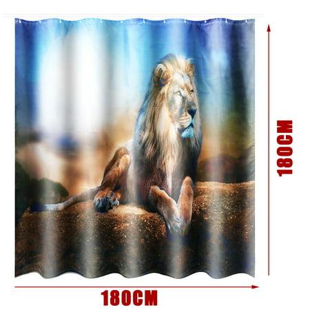 3Pcs Non-Slip Bathroom Toilet Seat Cover Bath Rugs Mat Pad Doormat + Shower Curtain Set Lion Home Decor Gift  - image 3 de 9
