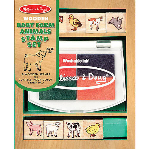 Melissa & Doug Baby Farm Animals Stamp Set With 8 Wooden Stamps and Four-Color Stamp Pad by Melissa & Doug