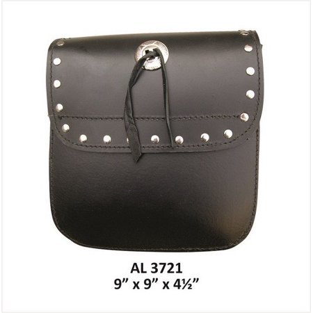 Motorcycle Luggage Travel Medium Studded Sissy bar leather bag With Silver Concho